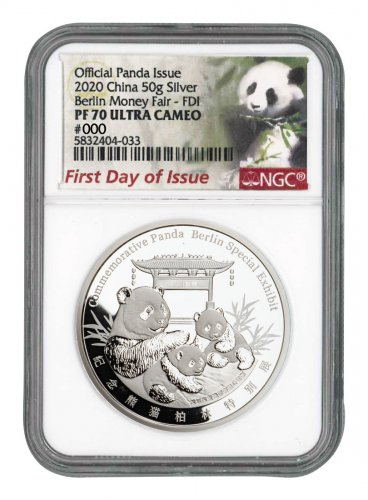 2020 China Berlin World Money Fair Silver Show Panda 50 g Silver Proof Medal Scarce and Unique Coin Division NGC PF70 UC FDI