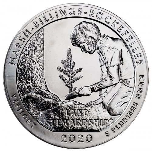 2020 Marsh-Billings-Rockefeller 5 oz. Silver ATB America the Beautiful Coin GEM BU