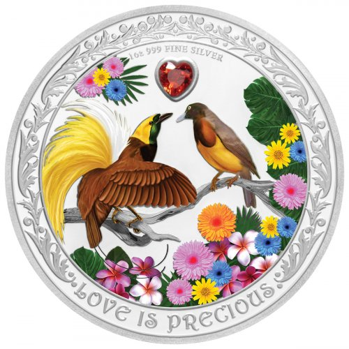 2020 Niue Love is Precious - Birds of Paradise 1 oz Silver Colorized Proof $2 Coin GEM Proof OGP