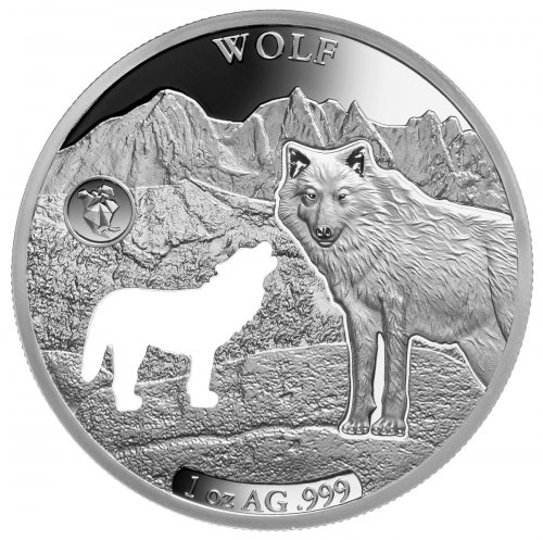 2020 Barbados Shapes of America - Cut-Out High Relief 1 oz Proof-Like Silver $5 Coin Wolf