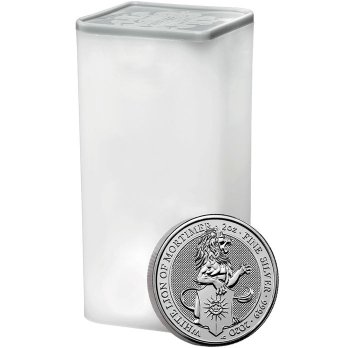 Roll of 10 - 2020 Great Britain 2 oz Silver Queen's Beasts - White Lion of Mortimer £5 Coins GEM BU
