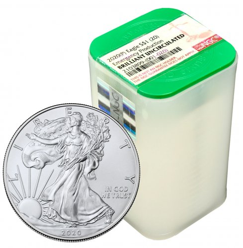 Certified Roll of 20 - 2020-(P) 1 oz Silver American Eagle Struck at Philadelphia $1 Coins NGC BU