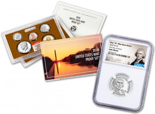 2020-W Jefferson Nickel NGC Gem Proof FDI + 2020 US Proof Set NGC Gem Proof FDI