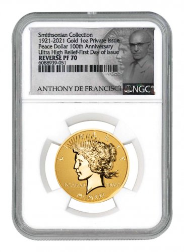 2021 Smithsonian Peace Dollar Ultra High Relief 1 oz Gold Reverse Proof Medal Scarce and Unique Coin Division NGC PF70 FDI De Francisci Label