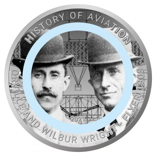 2021 Ghana History of Aviation - The Wright Brothers Polymer Ring CuNi GH¢2 Coin GEM BU