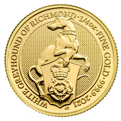 2021 Great Britain 1/4 oz Gold Queen's Beasts - The White Greyhound of Richmond £25 Coin GEM BU