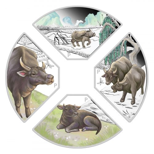2021-P Tuvalu 4pc Quadrant Lunar Set 1 oz Silver Year of the Ox Colorized Proof $1 Coin GEM Proof
