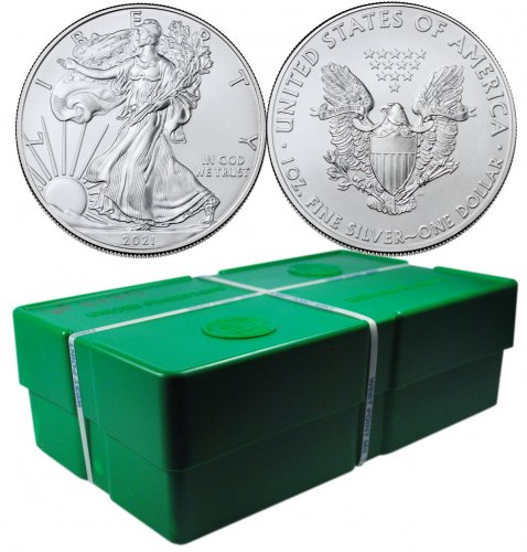 Monster Box of 500 - 2021 American Silver Eagle GEM BU