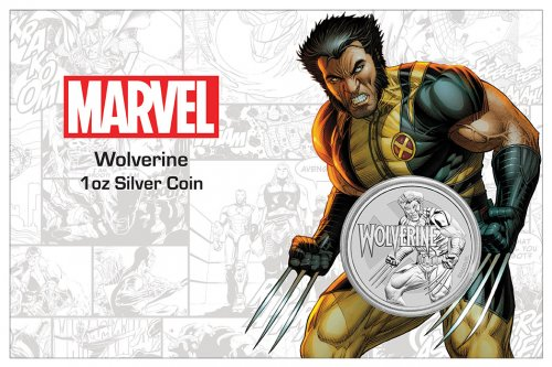 2021 Tuvalu Marvel Series - Wolverine 1 oz Silver $1 Coin GEM BU in Display Card