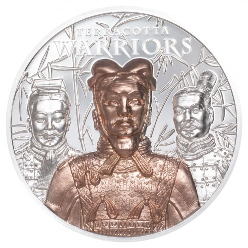 2021 Cook Islands Terracotta Warriors Ultra High Relief 3 oz Silver Gilt Proof $20 Coin GEM Proof OGP
