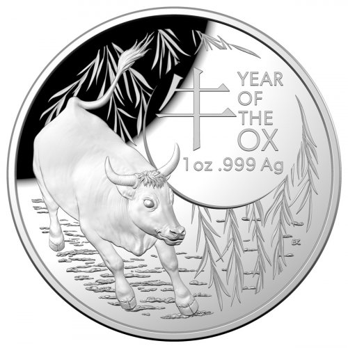 2021 Australia Lunar Year of the Ox Domed 1 oz Silver Proof $5 Coin GEM Proof