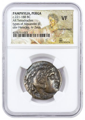 Greek Empire, Alexander the Great Silver Tetradrachm (c.3rd-1st Centuries BC) - Late Posthumous, Countermark - obv. Heracles/rv. Zeus NGC VF
