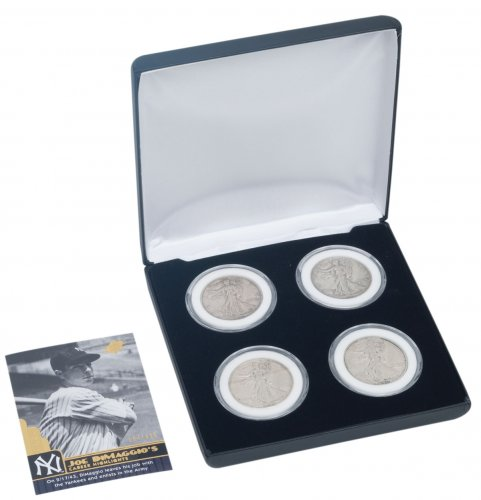 4-Piece Set - 1936-1939 Silver Walking Liberty XF Display Box with DiMaggio Tribute Card