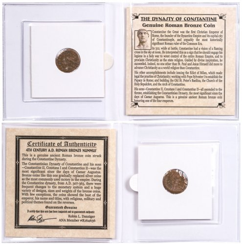 Roman Empire, Billon Nummus (AD 4th Century) - Dynasty of Constantine the Great (with COA)