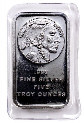Silvertowne Mint Buffalo Nickel Design 5 Oz Silver Bar