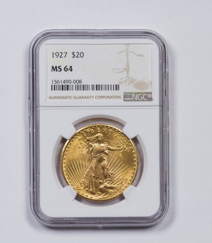 1927 Saint-Gaudens $20 Gold Double Eagle NGC MS64