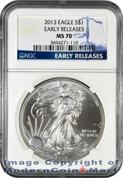 2013 Silver Eagle NGC MS70 ER Mint State 70 Early Releases