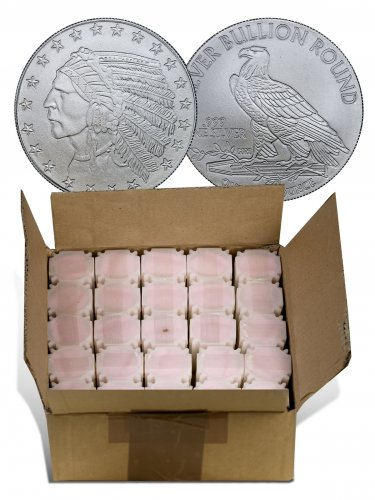 Monster Box of 500 - Highland Mint Indian Head Design Incused 1 oz Silver Rounds (Mint Sealed)
