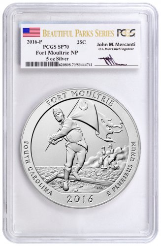 2016-P Fort Moultrie 5 oz. Silver America the Beautiful Specimen Coin PCGS SP70 (Beautiful Parks Series Mercanti Signed Label)