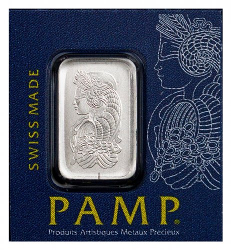 PAMP Fortuna Snap Off 1 g Platinum Bar In Assay from 25 g Snap Off Sheet