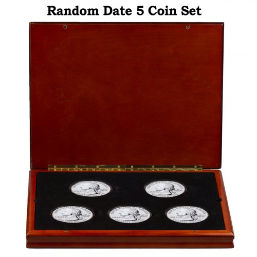Random Date 5-Coin Set 5 oz. Silver America the Beautiful 25C Coin GEM BU Presentation Display Box