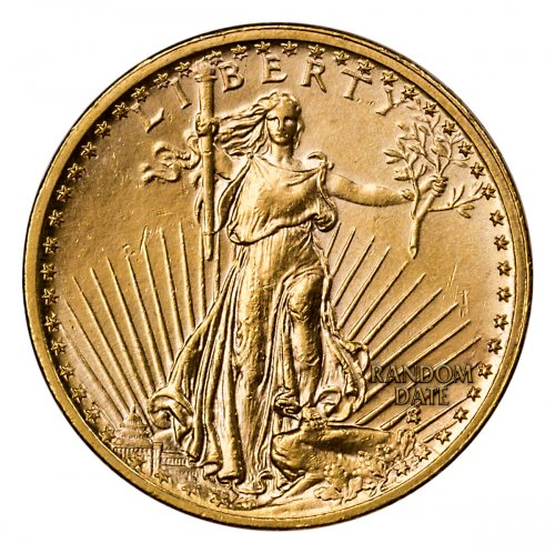 Random Date 1908-1932 Saint-Gaudens (With Motto) $20 Gold Double Eagle Jewelry Grade