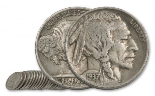 Half Roll of 20 - 1913-1938 Random Date Buffalo Nickels G+