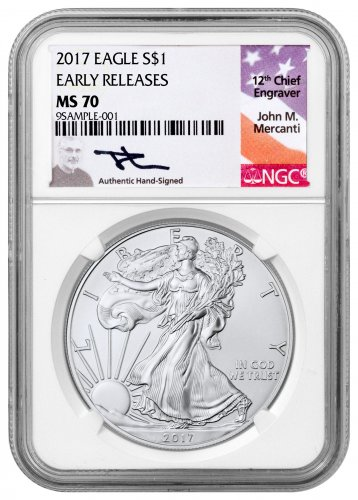 2017 American Silver Eagle NGC MS70 ER (Mercanti Signed Label)