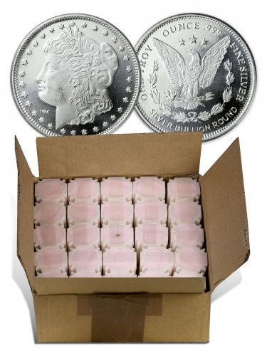 Monster Box of 500 Highland Mint Morgan Dollar Design 1 oz Silver Rounds (Mint Sealed)