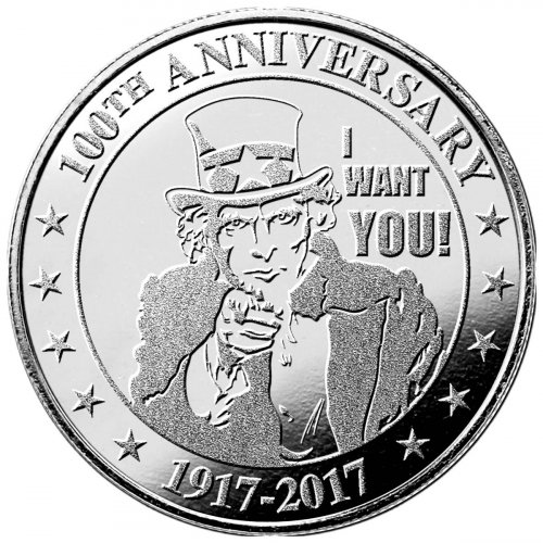 Highland Mint Uncle Sam I Want You 100th Anniversary 1 oz Silver Round
