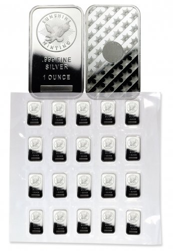 Sheet of 20 - Sunshine Minting Logo 1 oz Silver Bars