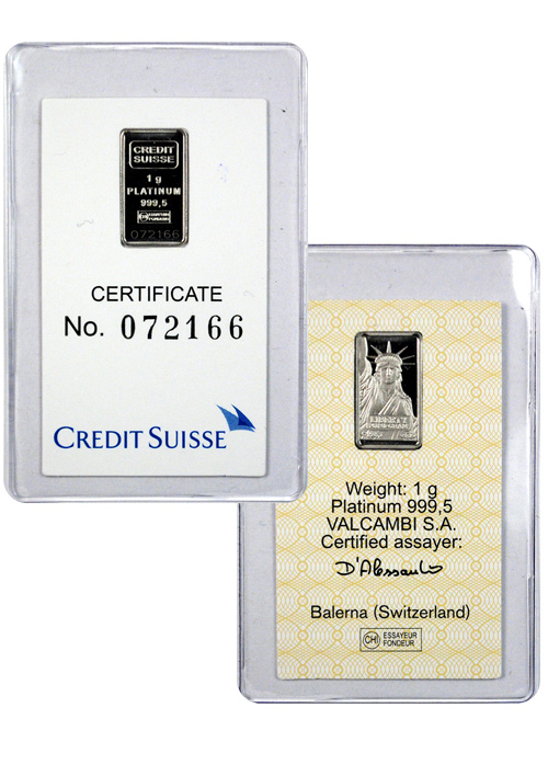 Credit Suisse 1g Platinum Bar - (Sealed With Assay Certificate)