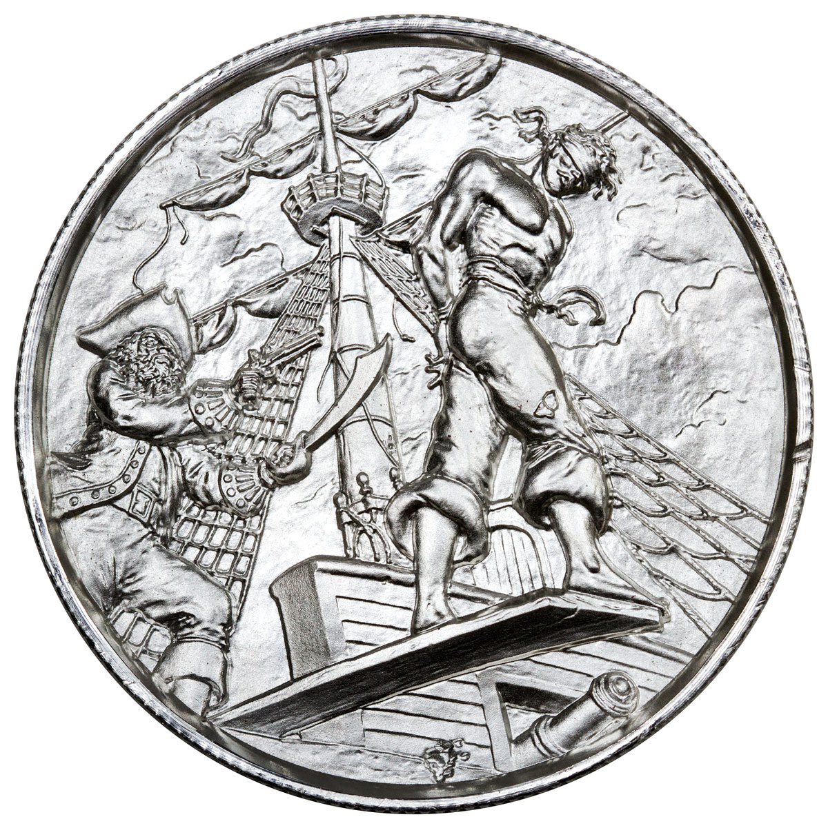 Elemetal Mint 2 oz. Silver Privateer Ultra High Relief Round - The Plank - Made in USA