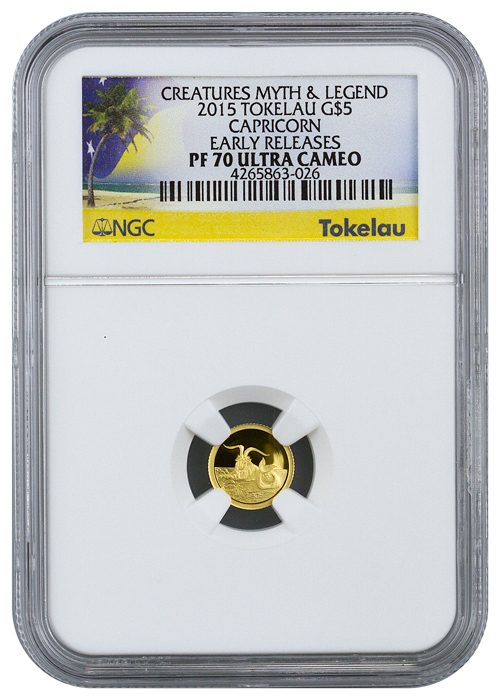 2015 Tokelau $5 1/2 g Proof Gold Creatures of Myth and Legend Capricorn - NGC PF70 UC Early Releases (Exclusive Label)