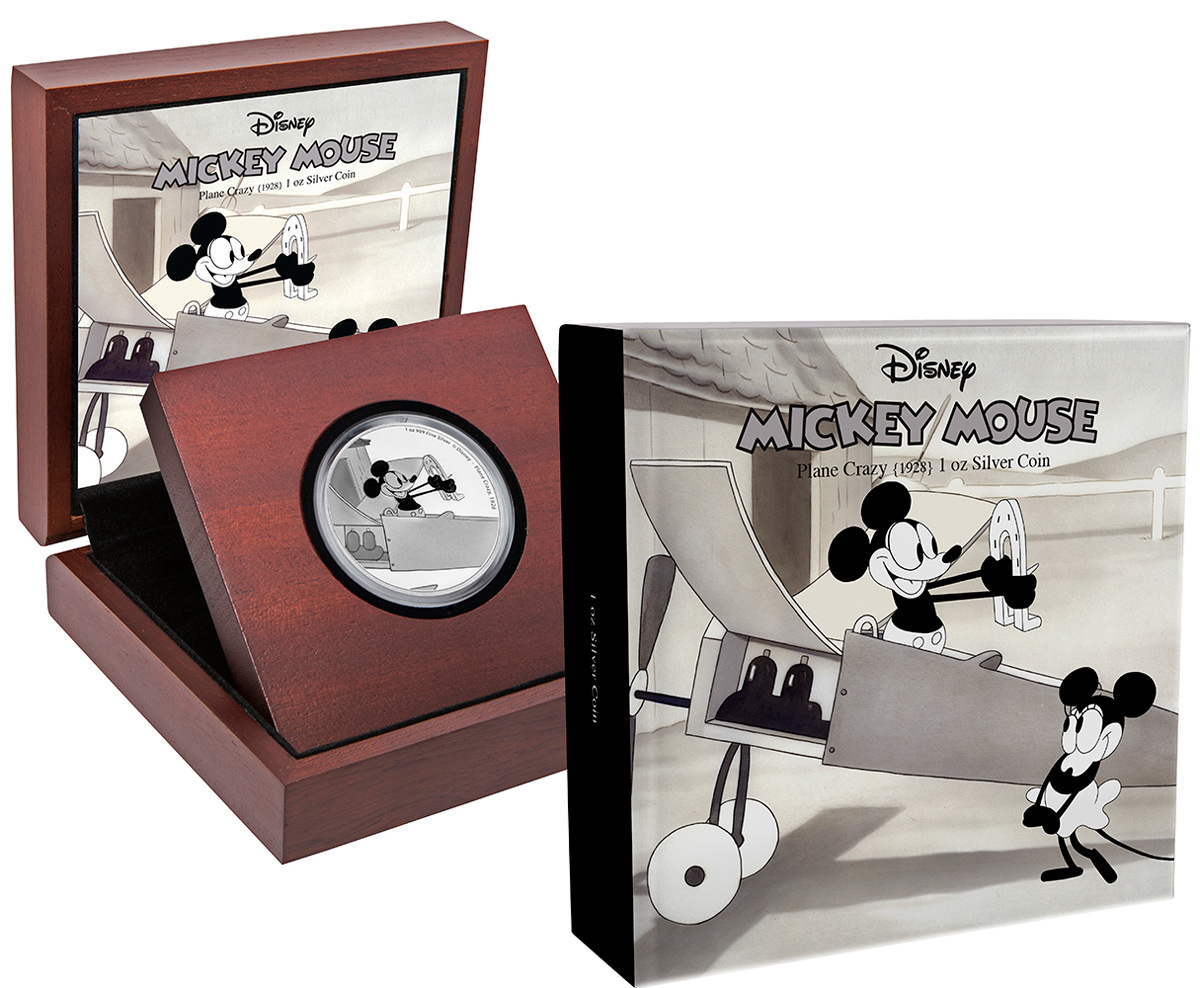 2016 Niue Disney Mickey Through the Ages - Plane Crazy 1 oz Silver Colorized Proof $2 GEM Proof OGP