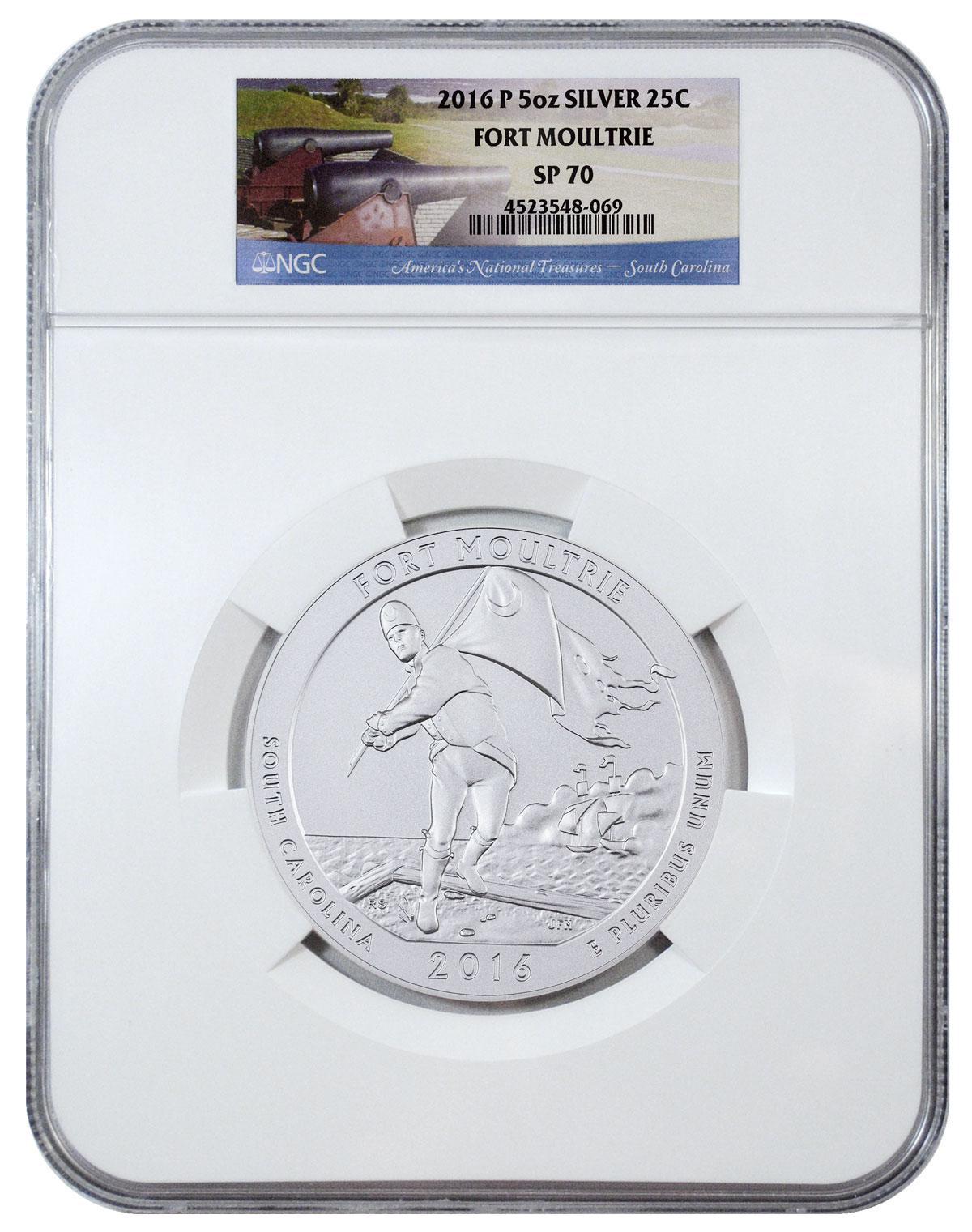 2016-P Fort Moultrie 5 oz. Silver America the Beautiful Specimen Coin NGC SP70 (America's Natural Treasures Label)