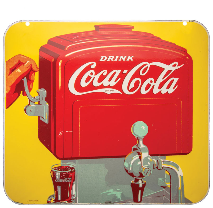 Coca-Cola Porcelain Double Sided Fountain Dispenser Sign