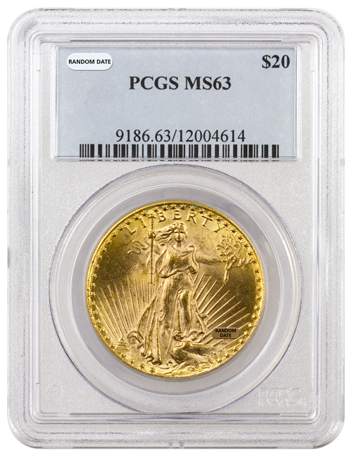 Random Date 1908-1932 Saint-Gaudens (With Motto) $20 Gold Double Eagle PCGS MS63