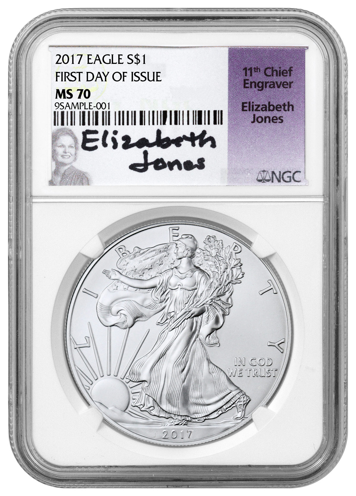 2017 American Silver Eagle NGC MS70 FDI (Elizabeth Jones Signed Label)