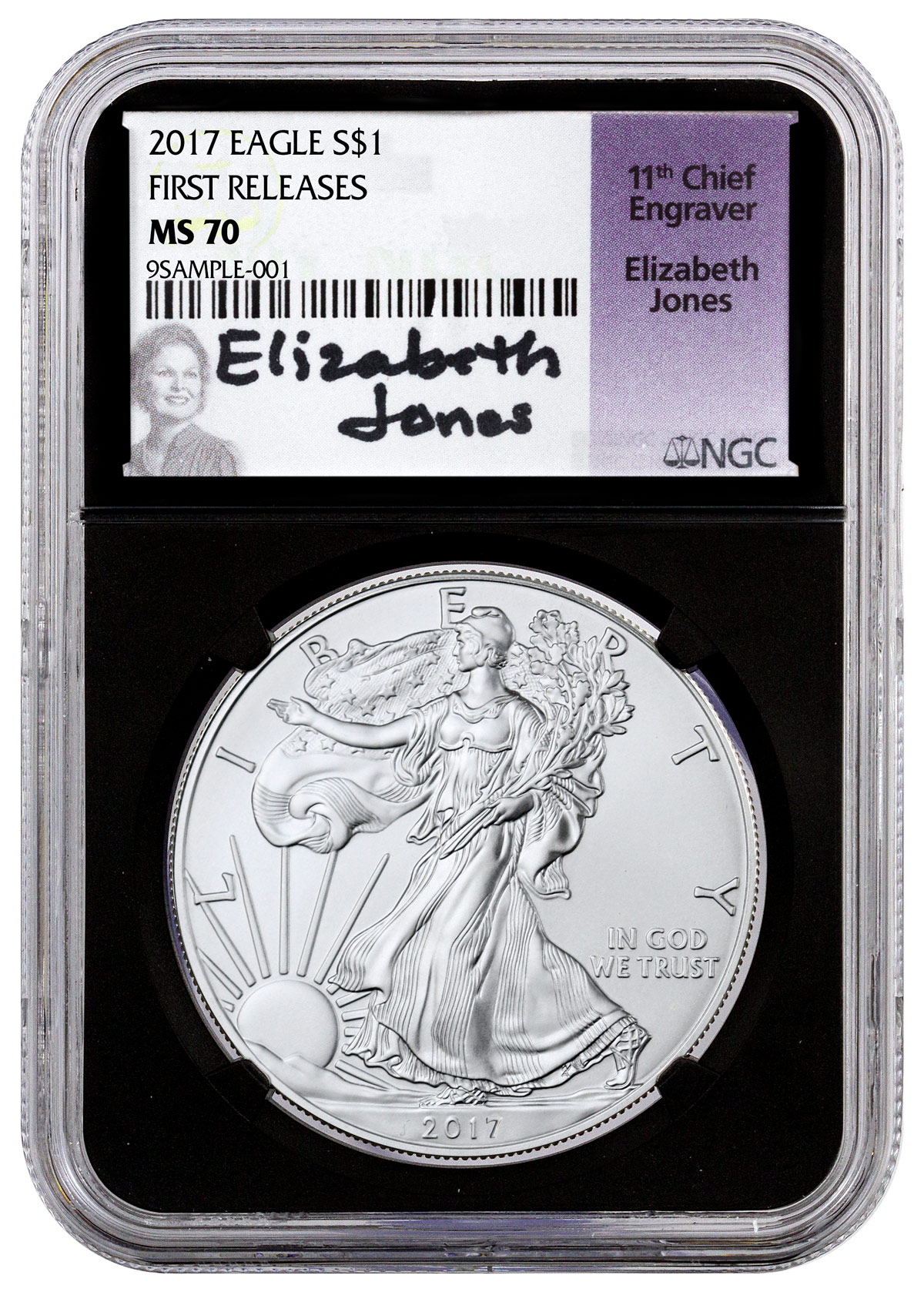 2017 American Silver Eagle NGC MS70 FR (Black Core Holder Elizabeth Jones Signed Label)