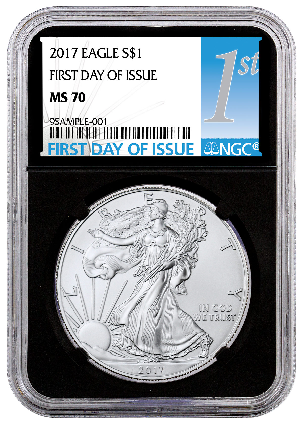 2017 W UNCIRCULATED SILVER EAGLE MS70 NGC FDI FIRST DAY OF ISSUE LABEL