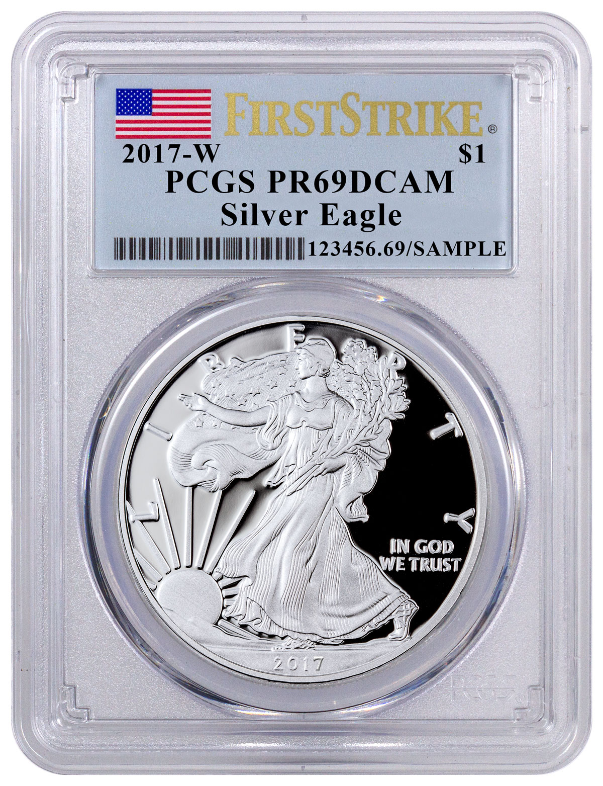 2017-W Proof American Silver Eagle PCGS PR69 DCAM FS (Flag Label)