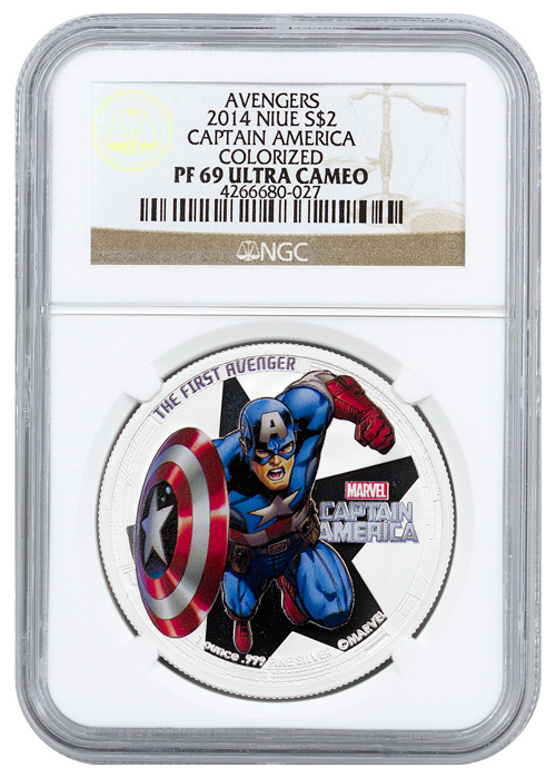2014 Niue $2 1 oz. Colorized Proof Silver Marvel Avengers - Captain America - NGC PF69 UC