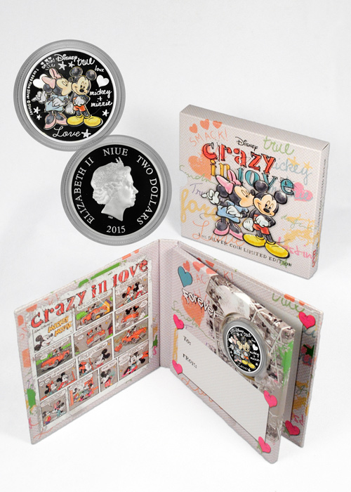 FIRST IN SERIES MICKEY /& MINNIE 1 OZ SILVER COIN 2015 DISNEY CRAZY IN LOVE