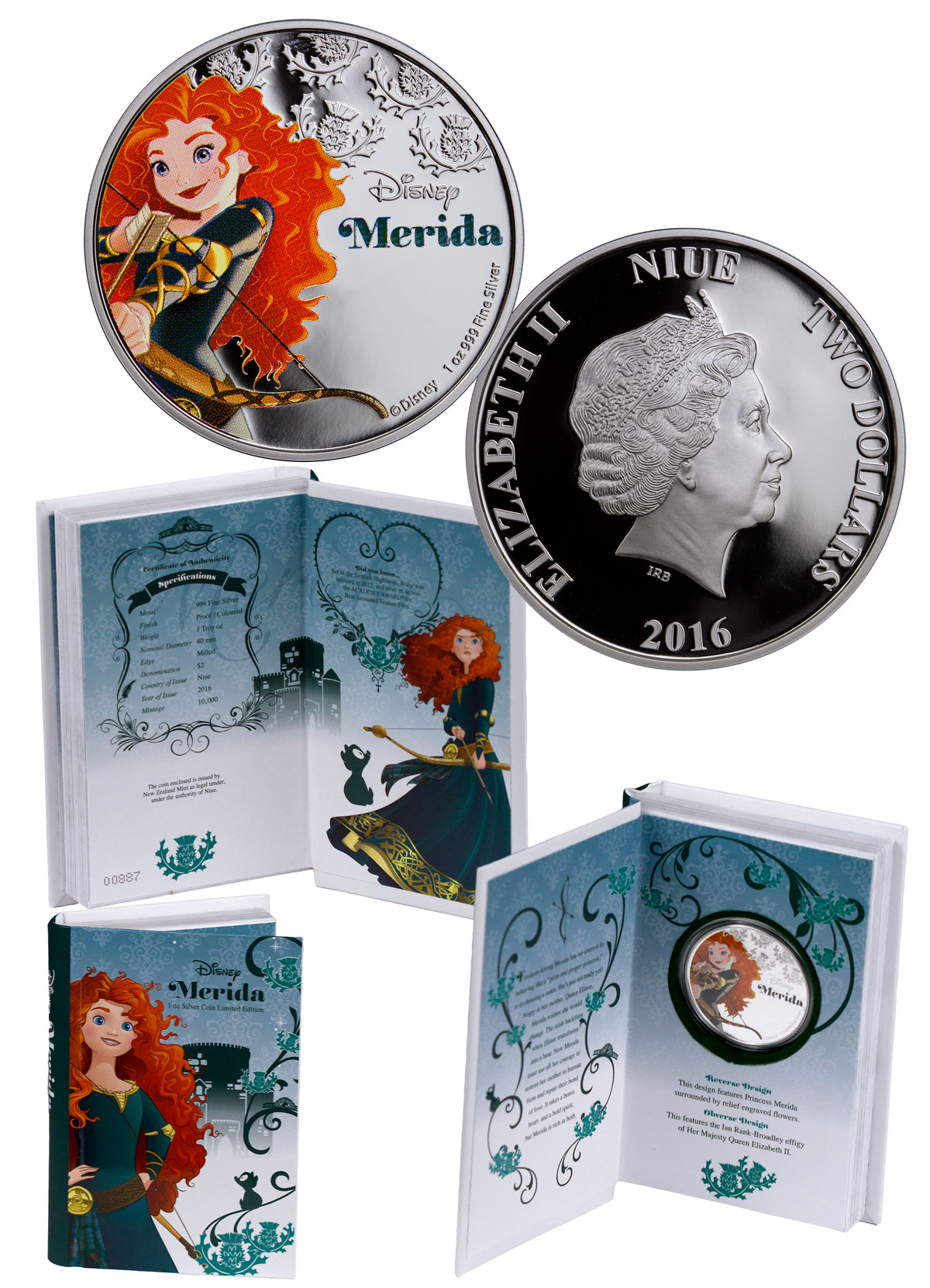 2016 Niue Disney Princess - Merida 1 oz Silver Colorized Proof $2 GEM Proof OGP