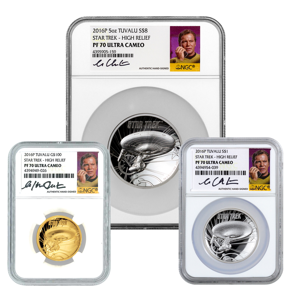 2016 Tuvalu Star Trek - USS Enterprise High Relief Gold and Silver Proof 3-Coin Set NGC PF70 UC (William Shatner Signed Label)