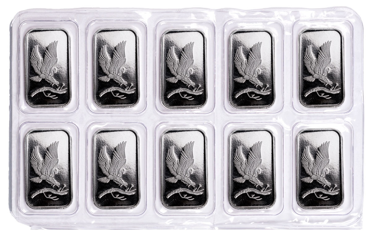 1 Oz Silvertowne Silver Eagle Design Bar Lot 10 Bars