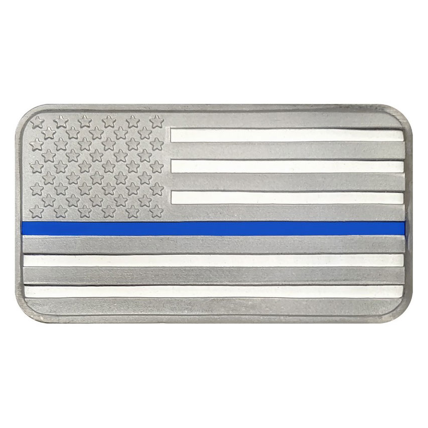 SilverTowne Mint Police Officer Blue Line Enameled American Flag Design 1 oz Silver Proof Like Bar GEM Prooflike