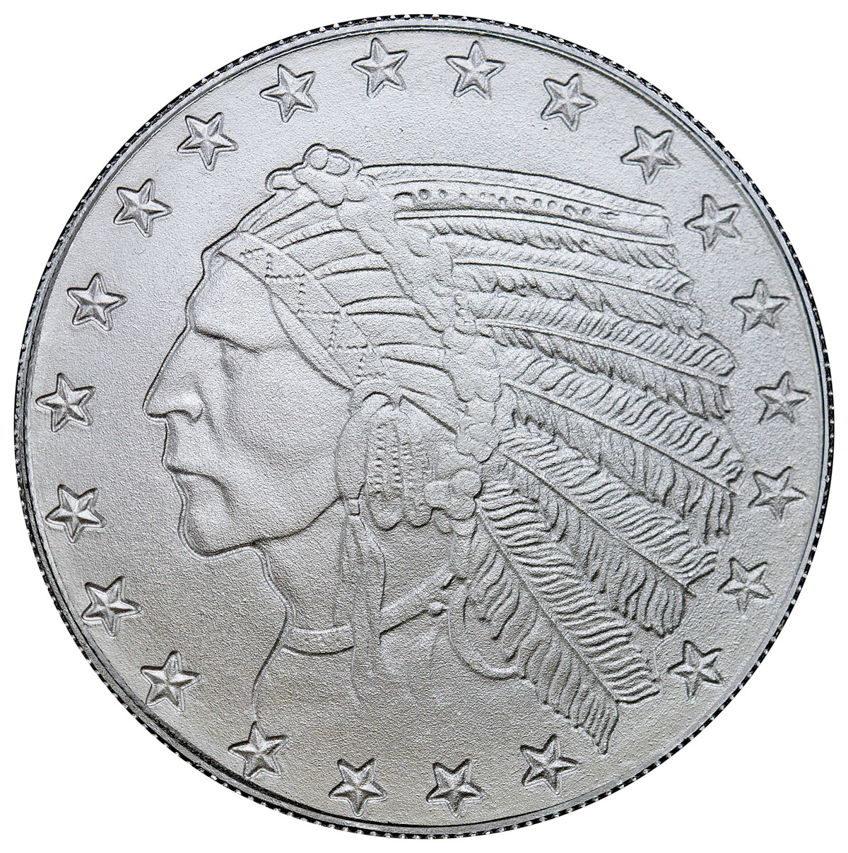 Highland Mint Indian Head Design Incused 1 oz Silver Round