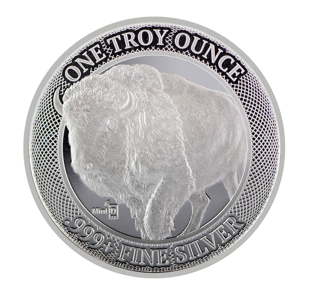1 oz Silver MintID with AES-128 Bit Encrypted NFC Microchip Authentication Buffalo Round GEM BU